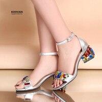Koovan Women Sandals 2017 Shoes Woman Sandalia Summer Bohemian Crystal Diamond Rhinestone Fish Head Mesh Fancy