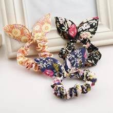Women's rope flower jewelry Korea small jewelry rabbit ears cloth dot rubber band rope ring gift massage(China)