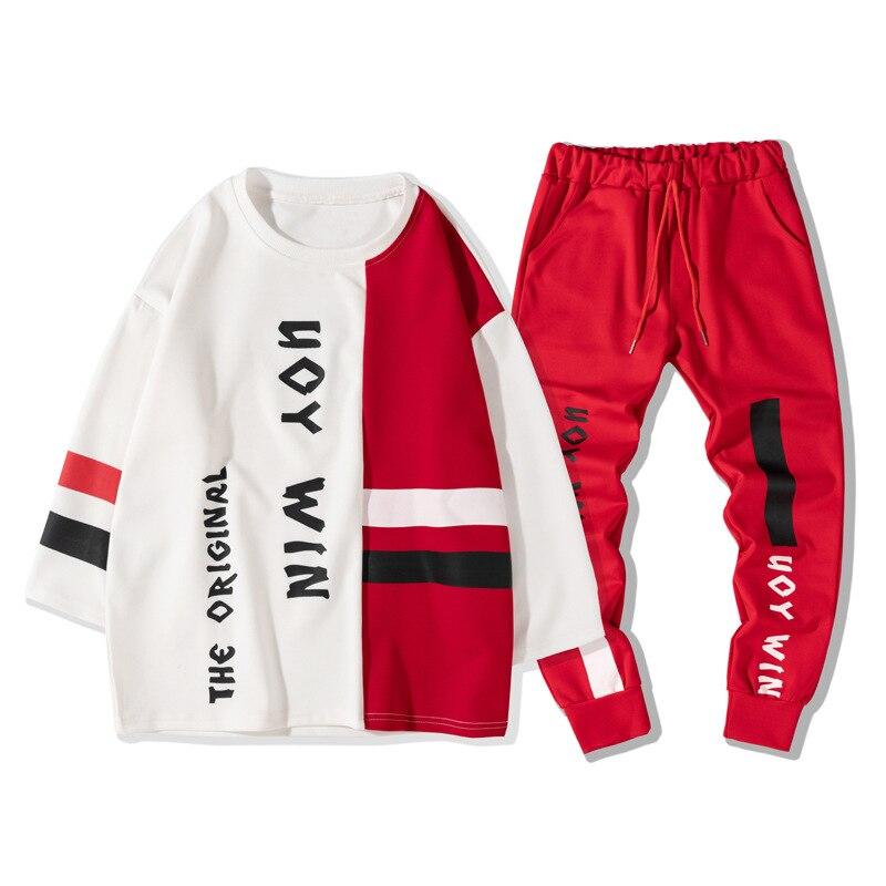 Mode Hip Hop Sport Hommes Deux Pièces t-shirt + Pantalon Sweat Ensemble décontracté Jeunes survêtement Vêtements Hommes Lettre Imprimer Ensemble De Survêtement - 6