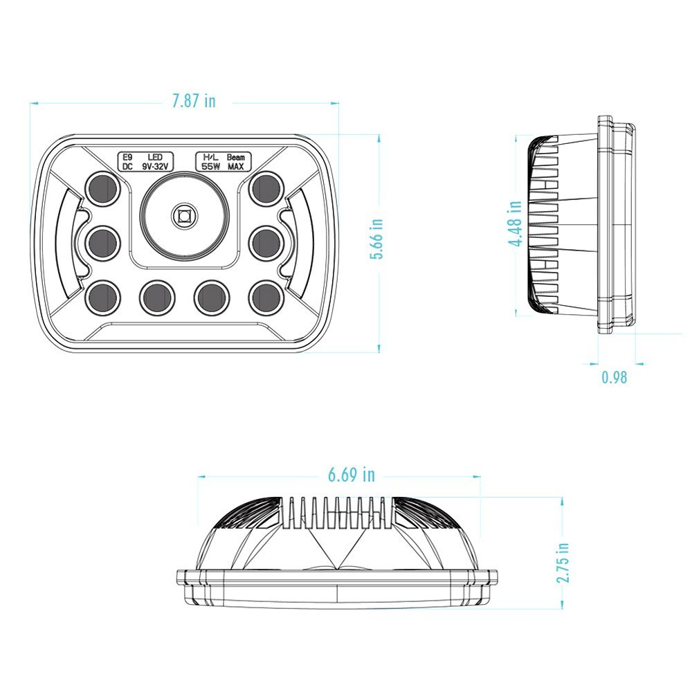 7x6 Inch Drl Replace H6054 H6014 Led Headlights High Low Beam 55w 6054 Headlight Wiring Diagram Mack Pai In Car Light Assembly From Automobiles Motorcycles On Alibaba