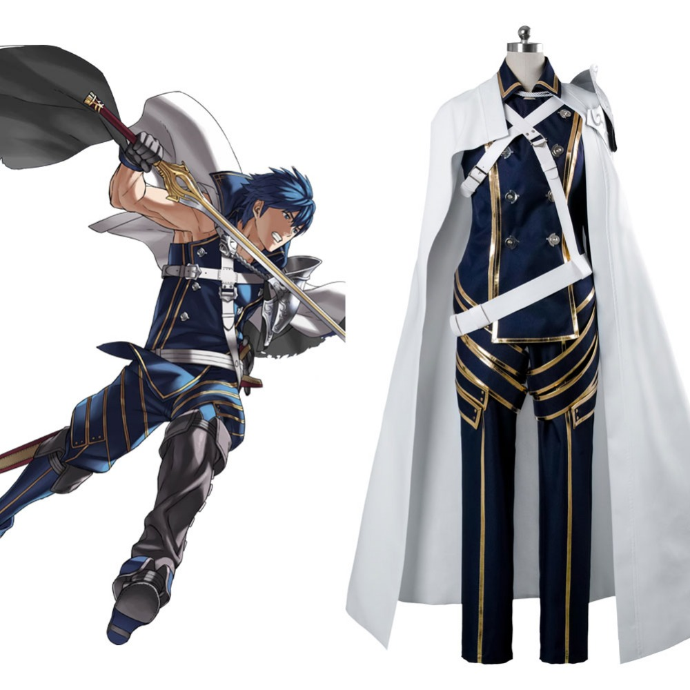 Fire Emblem Awakening cosplay Prince Chrom costume Full Sets Battle Suit With Robe Cosplay Halloween Carnival