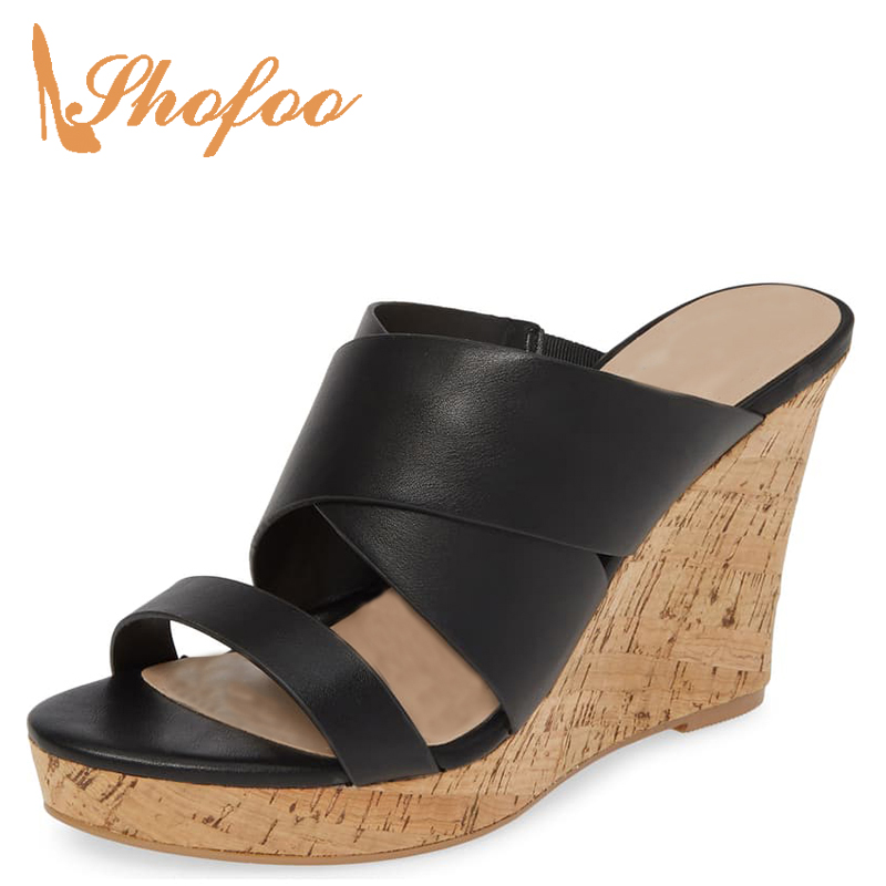 Beach-Sandals Heels High-Wedges Ladies Shoes Black Platform Open-Toe Large-Size Summer