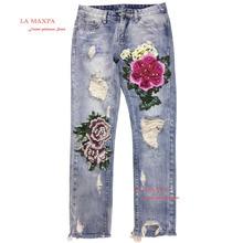 Новый размер XXXL женские джинсы мода делать старые очистка воды рваные MD-длинные женские вышитые печати Hollow из узкие брюки