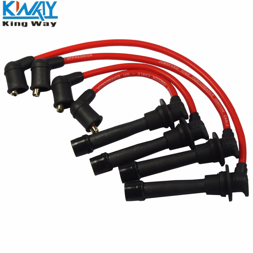 US $23 99 |FREE SHIPPING King Way 4PCS Performance Ignition Spark Plug  Wires Set For 90 00 Mazda Miata 1 6L 1 8L-in Ignition Coil from Automobiles  &
