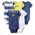5 pçs/lote Primavera Recém-nascidos Do Bebê da menina do menino Bodysuits Corpo Do Bebê Do Algodão de Manga Curta bebes Infantil Bebe Menino & Menina roupas