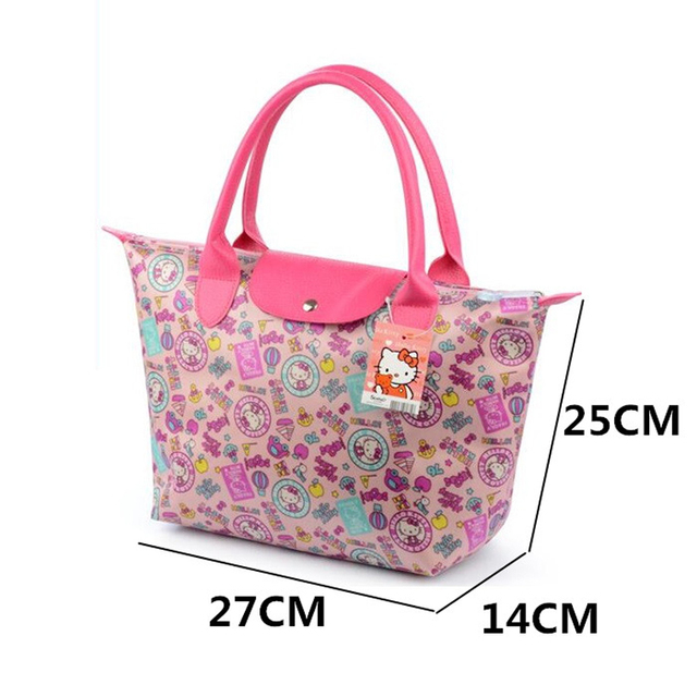 Hello Kitty Waterproof Women Shopping Bags Folding Women Graffiti Handbag Size 27X14X25CM