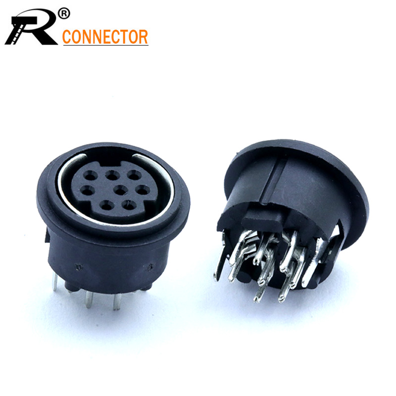 20PCS <font><b>Mini</b></font> <font><b>8Pins</b></font> PS2 Jacks <font><b>DIN</b></font> S Terminal Connectors PS2 8P Socket 180Degree image