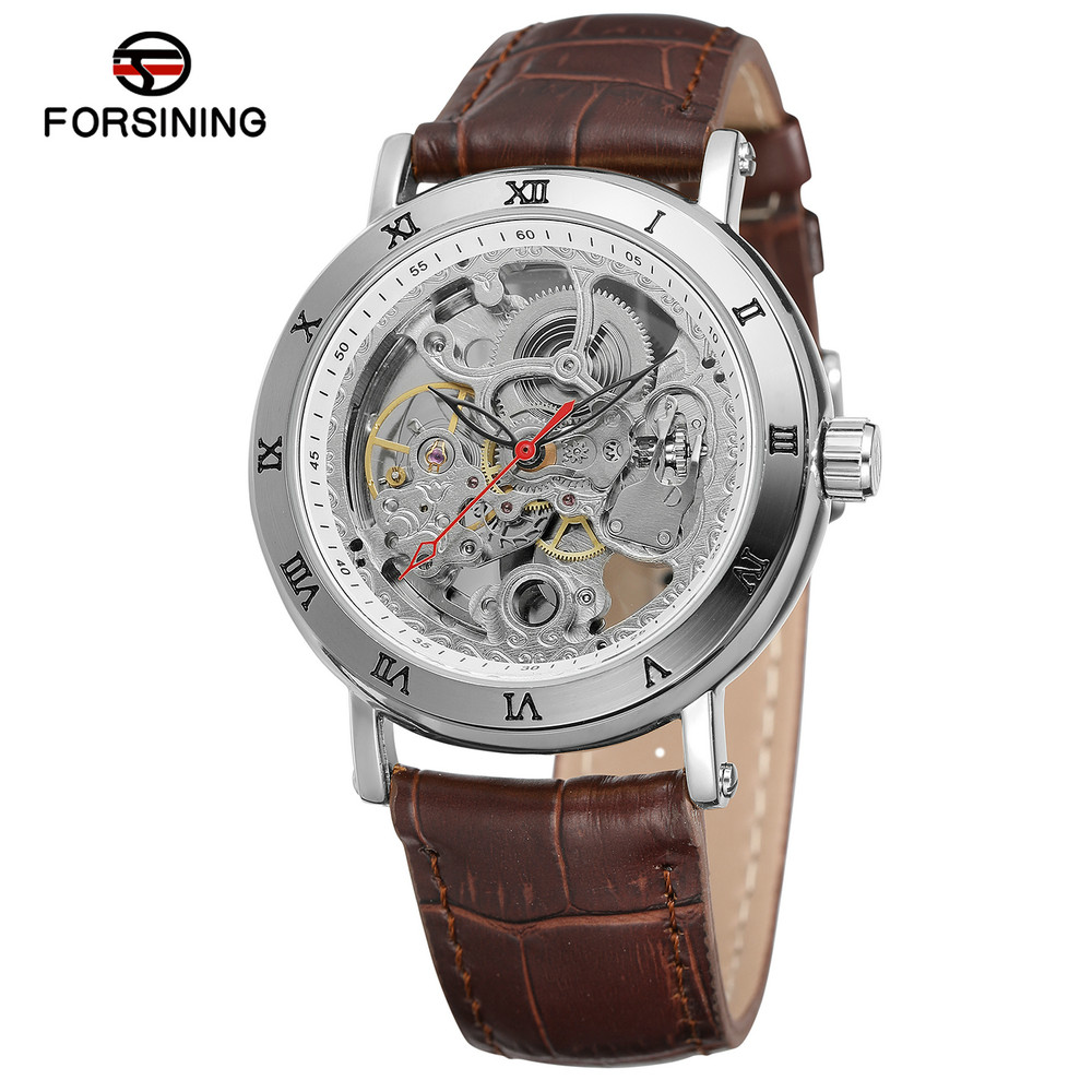 FORSINING Antique Leather Automatic Watch Mens Auto Mechanical Watches Self Wind Skeleton Wristwatches Horloges Mannen 9005 forsining new mens skeleton self wind watches mechanical pu leather wrist watch gift free ship