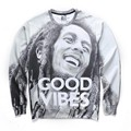 New Fashion Men/women's print bob marley GOOG VIBES autumn winter thin hoodies 3d sweatshirts Asia size S-XXL