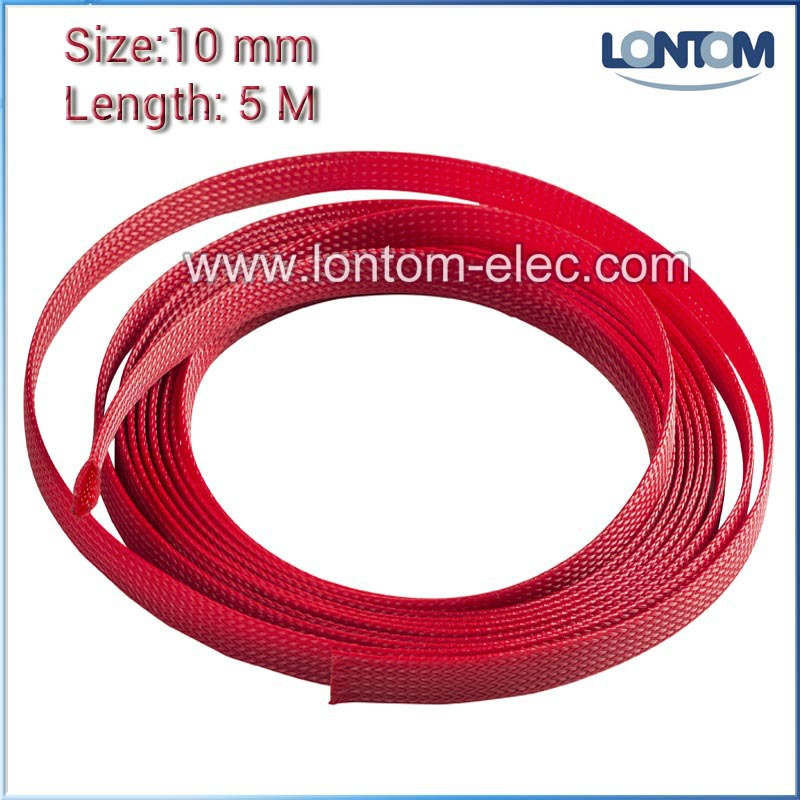 Braided Expandable Cable Loom Auto Harness Wire Sleeving Sheathing 12mm RED 5m