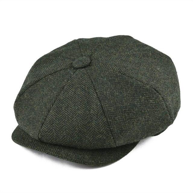 a73f984306b56 BOTVELA Handmade Soft Wool 8 Panel Navy Herringbone Newsboy Cap Men 8  Quarter Style Flat Caps Women Beret Hat 005 Tweed-in Newsboy Caps from  Apparel ...