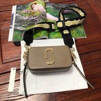2019 новая сумка для камеры, широкий плечевой ремень, смешанный цвет, сшивание, маленькая квадратная сумка, кожаная женская сумка, двойная мол...