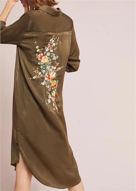 777dcbff7e 2018 Spring Women Casual Back Floral Embroidery Shirt dress Vintage ethnic  style army green Midi dresses