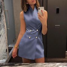 2019 Women Elegant Solid Casual Mini Work Dress Female Office Style Sleeveless Double Breasted Mini Formal Party Dress цена