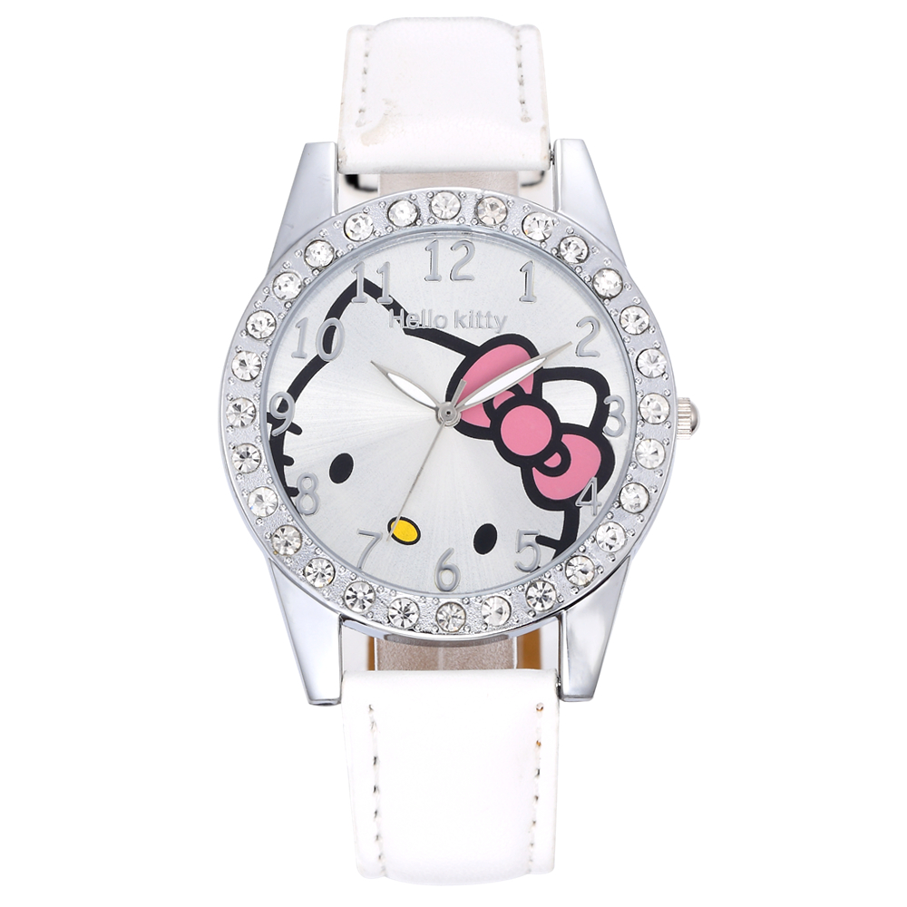 Women Watches Luxury Rhinestone Wrist watches Brand Hello Kitty Ladies Leather Strap Analog Quartz-watch Relogio Feminino