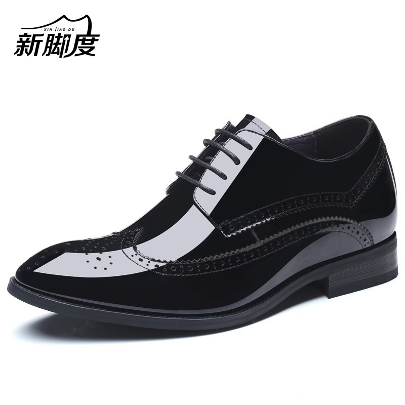 783ee19a5105 Formal Mens Height Increase Elevator Shoes in Patent Leather Get Taller 7cm  Invisibly