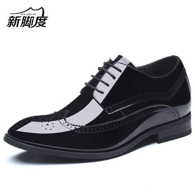 US $108.0 |Patent Leather Brogue Style Men's Formal Dress Shoes With Hidden Lift Insole Height Increasing 6 CM For Wedding Party,Business in Formal