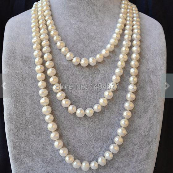 Wholesale Pearl Jewelry , 60 Inches White Color AA 9-10MM Genuine Freshwater Pearl Necklace - Handmade - New Free Shipping.
