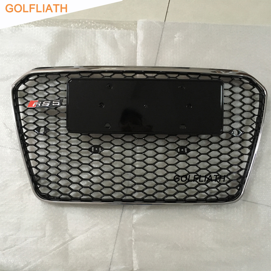 GOLFLIATH RS5 style ABS Black Painted chrome Frame Mesh Grille Auto Grills racing grille For Audi A5 S5 RS5 2012-2015 golfliath sq5 style black painted chrome frame honeycomb mesh front grille for audi q5 2009 2012