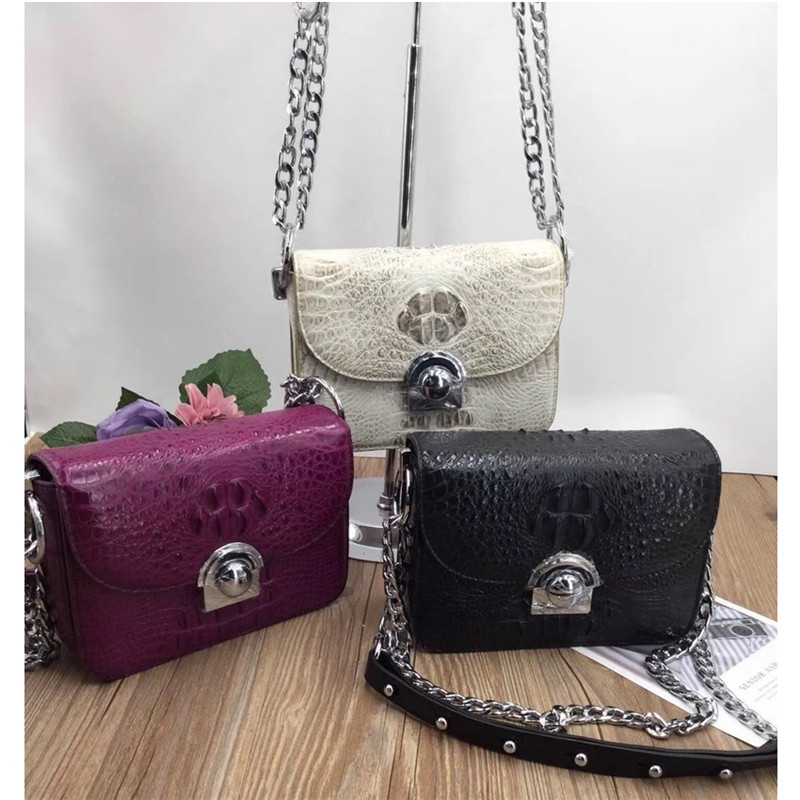Famous Designer Genuine Crocodile Skin Leather Womens Small Black Phone Purse Silver Hardware Lady Single Cross Shoulder BagFamous Designer Genuine Crocodile Skin Leather Womens Small Black Phone Purse Silver Hardware Lady Single Cross Shoulder Bag