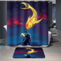 Waterproof One Set 2 Size Polyester Fabric Bath Shower Curtain Bathroom Accessories Bath Curtain With Carpet