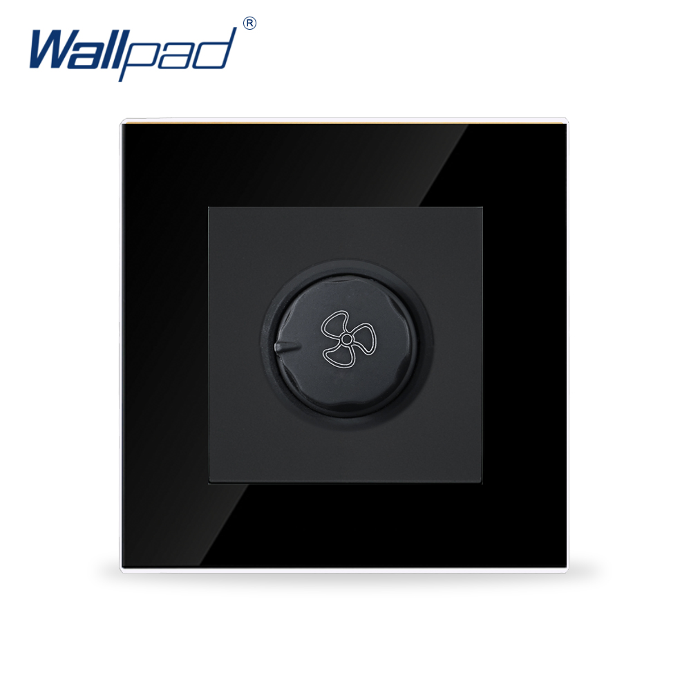 Wallpad Smart Home Fan Switch Black Crystal Glass Fan Rotary Speed Control Wall Switch ,Free Shipping 660v ui 10a ith 8 terminals rotary cam universal changeover combination switch