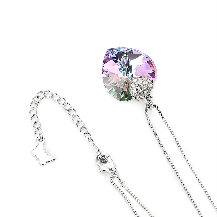 HTB1kHUcboLrK1Rjy0Fjq6zYXFXaL Swarovski Crystal Necklace Heart Shape Amethyst Crystal Pendant Necklace Fashion Jewelry Choker Necklace Gift for Lady Collares