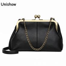 Винтажные женские сумки через плечо Unishow, маленькие брендовые мессенджеры на цепочке через плечо с дизайном Kiss Lock, Sac Bolsa