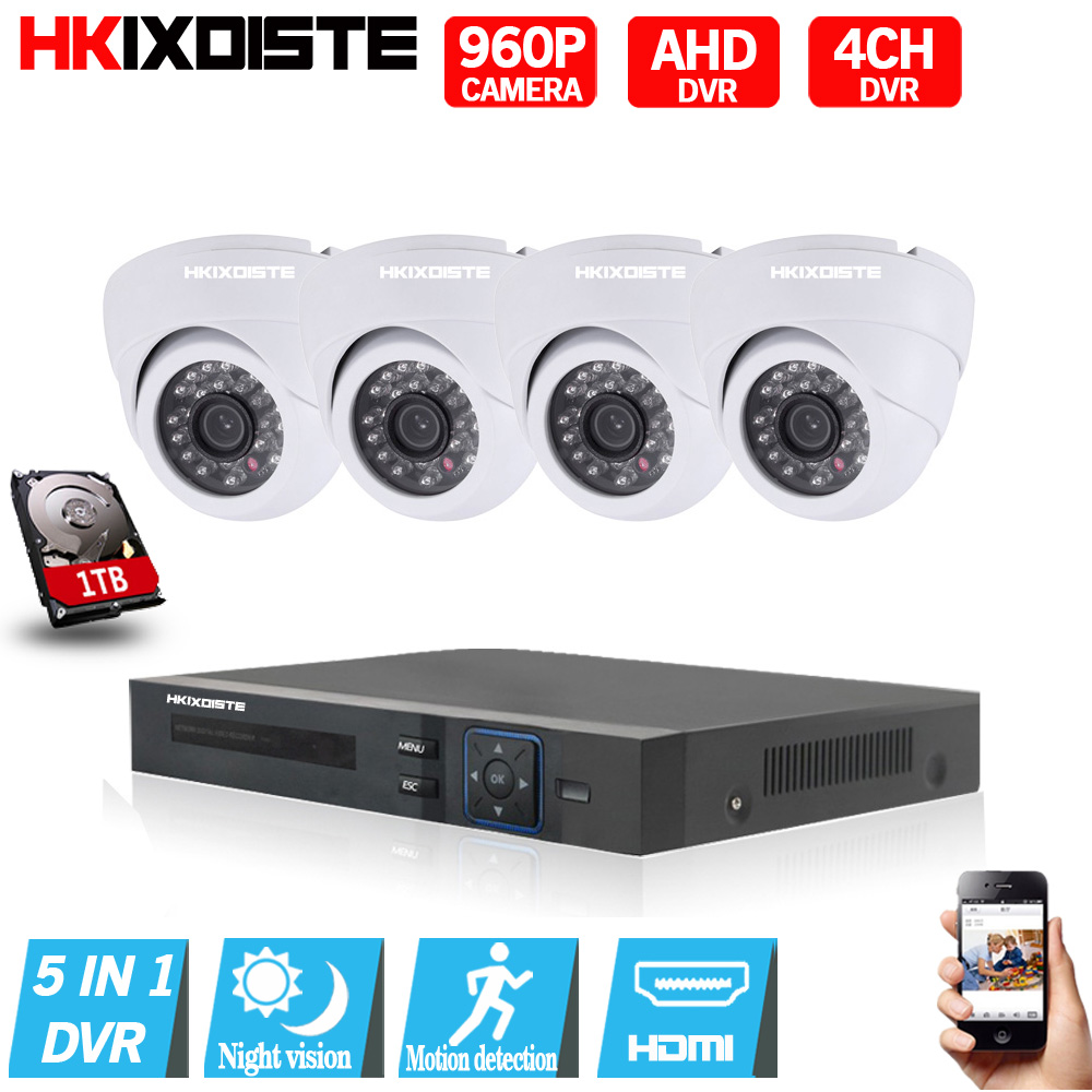 4CH Security Camera System 1080N DVR Reorder with AHD 1.3MP 960P indoor CCTV Cameras 4PC ...