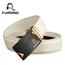 Designer Mens Belts 110-130CM Luxury Leather High Quality Business Man White Genuine Split Automatic Belt