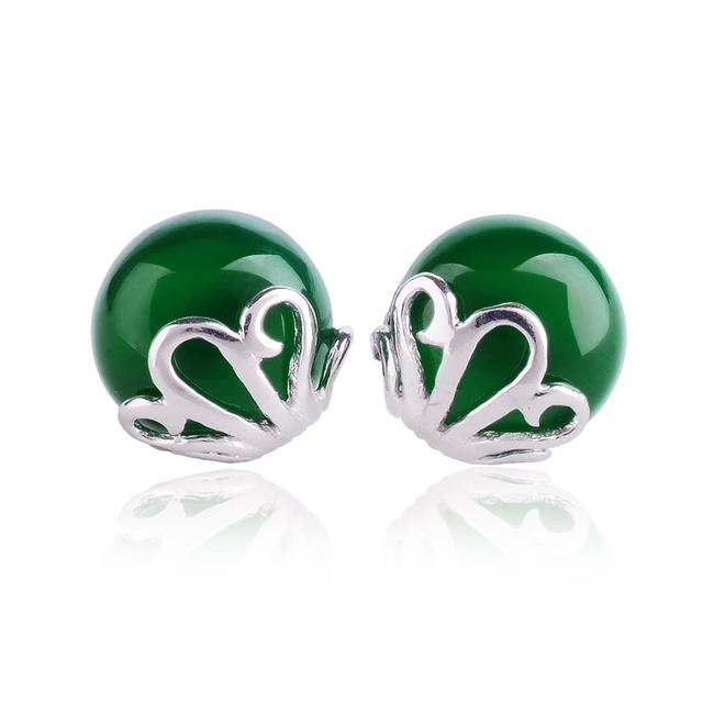 2015 novo S925 prata Opal Ágata Verde Branco vermelho verde retro brincos Mulheres acessórios de jóias por atacado presente de aniversário