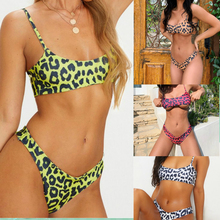 ECTIC New Sexy Sport Bikini 2019 Women Leopard Swimsuit Brazilian Swimwear Female Two-pieces Set Bather Bathing Suit