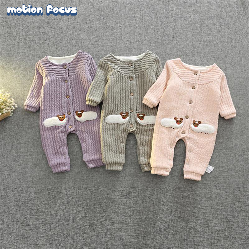 Baby Rompers Newborn Winter Coveralls Infant Boy Girl Fleece Romper Knitting Jumpsuit Bebe Outwear Thick Warm Climb Clothes penguin fleece body bebe baby rompers long sleeve roupas infantil newborn baby girl romper clothes infant clothing size 6m