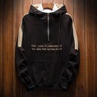 Letter Print Zip Hoodie male 2018 New Hot sale Casual Sweatshirt Hip Hop Street Harajuku Shirt Funny Hooded Pullover hoddie Men