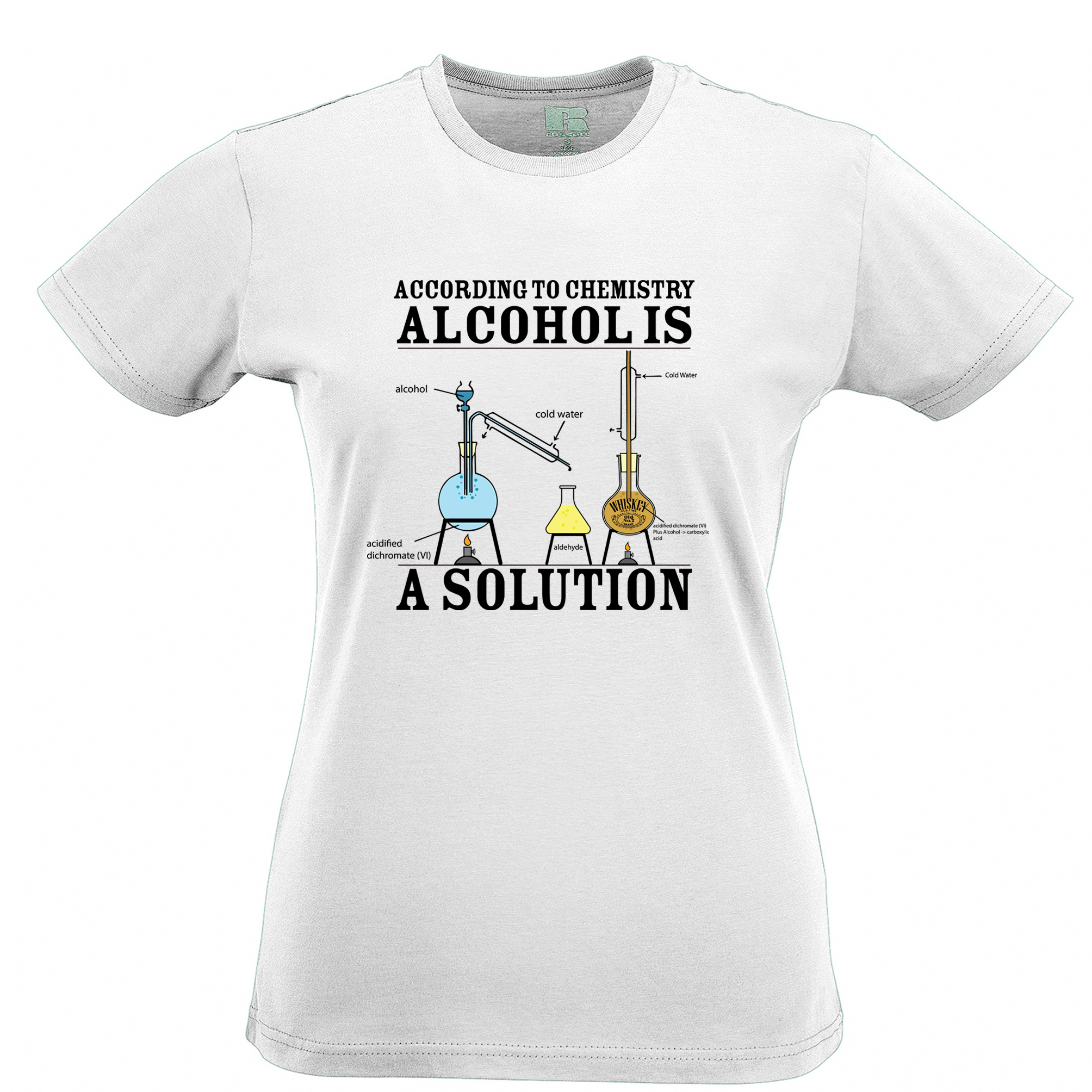 According the font b chemistry b font alcohol is the solution Men s T shirt for