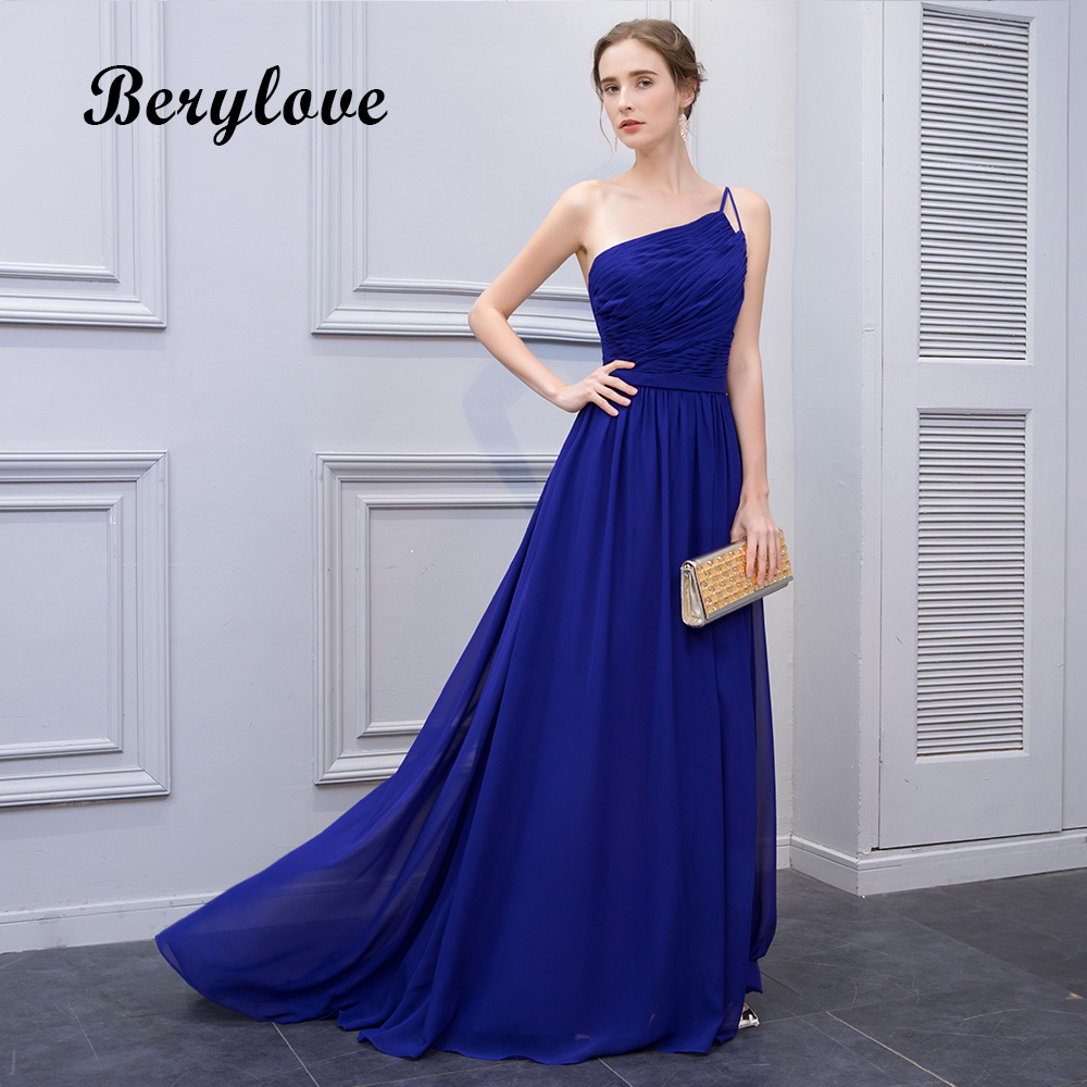 BeryLove Simple Royal Blue Chiffon Evening Dresses 2018 Long One ...