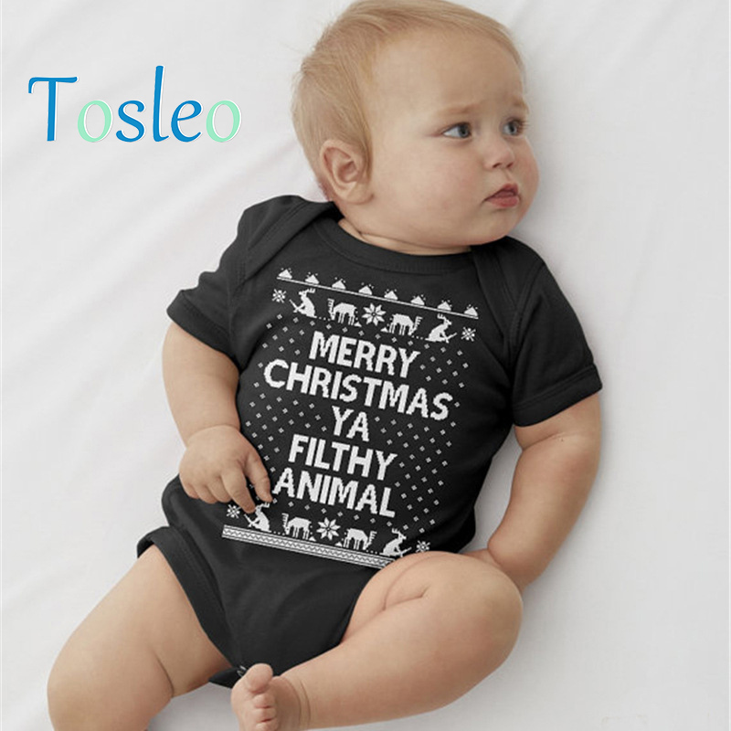2018 Baby Birthday Party Bodysuit Baby Clothes Summer Onesie Baby Bodysuit Newborn Costume for Children Black Red 3M-24M