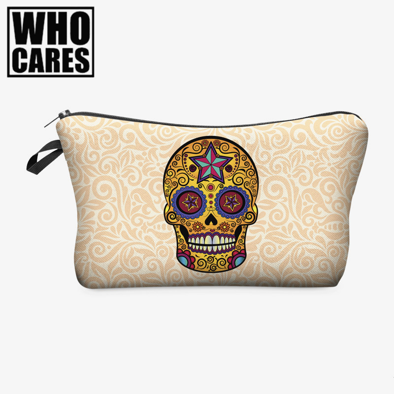 Mexican skull 3D printing cosmetic bag Zohra 2016 Fashion New Hot Now makeup bag women trousse de maquillage travel organizer fashion travel cosmetic bag makeup case multifunction organizer trousse de maquillage necessaire free shipping