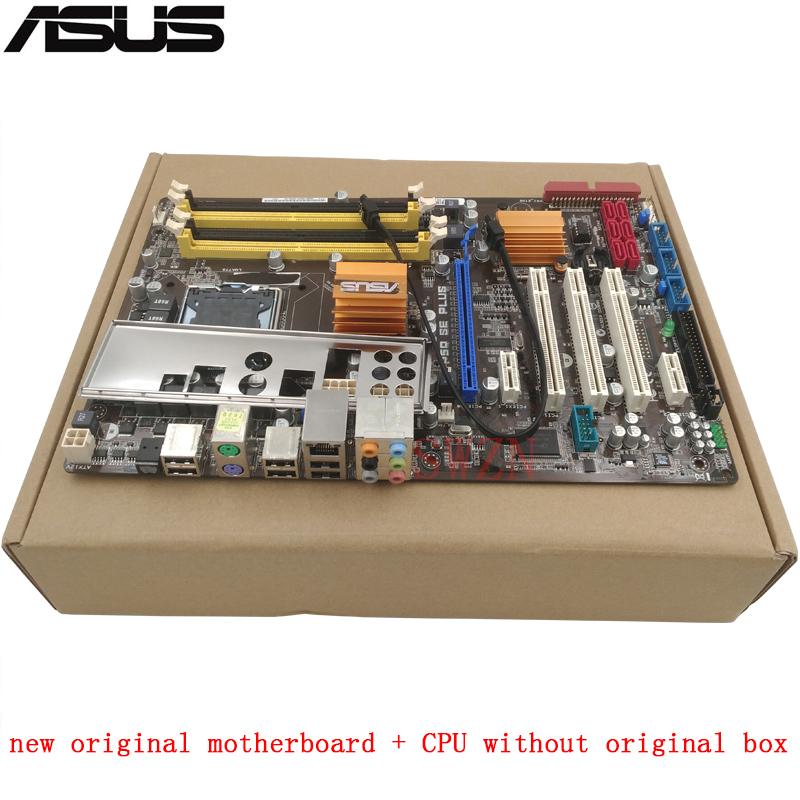 new original Desktop motherboard + CPU without original box For ASUS P5Q SE PLUS LGA 775 4*DDR2 support 16G 6*SATA2 USB2.0 ATX цена 2017