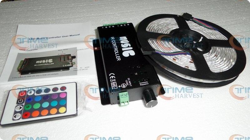 Светодиодный музыкальный контроллер с 5 м SMD 5050 RGB светодиодный полосы 12 V с яркими разноцветными огоньками 30 светодиодный s/M Высокое качество гибкий светодиодный полосы - Цвет: Черный