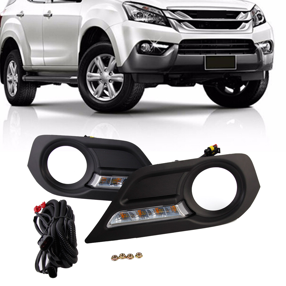 Auto Car LED Daytime Running Lights Driving Lamp Day Light For Isuzu MU-X 2015-2016 12V Free Shipping drl for chevrolet captiva 2013 2016 daytime running lights double color led day driving light with lamp door free shipping