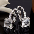 New Shining Hoop Earrings Bijoux Jewelry Brincos Pendientes Mujer 1Pair Wholesale Wonderful 1pair silver White CZ Diamond