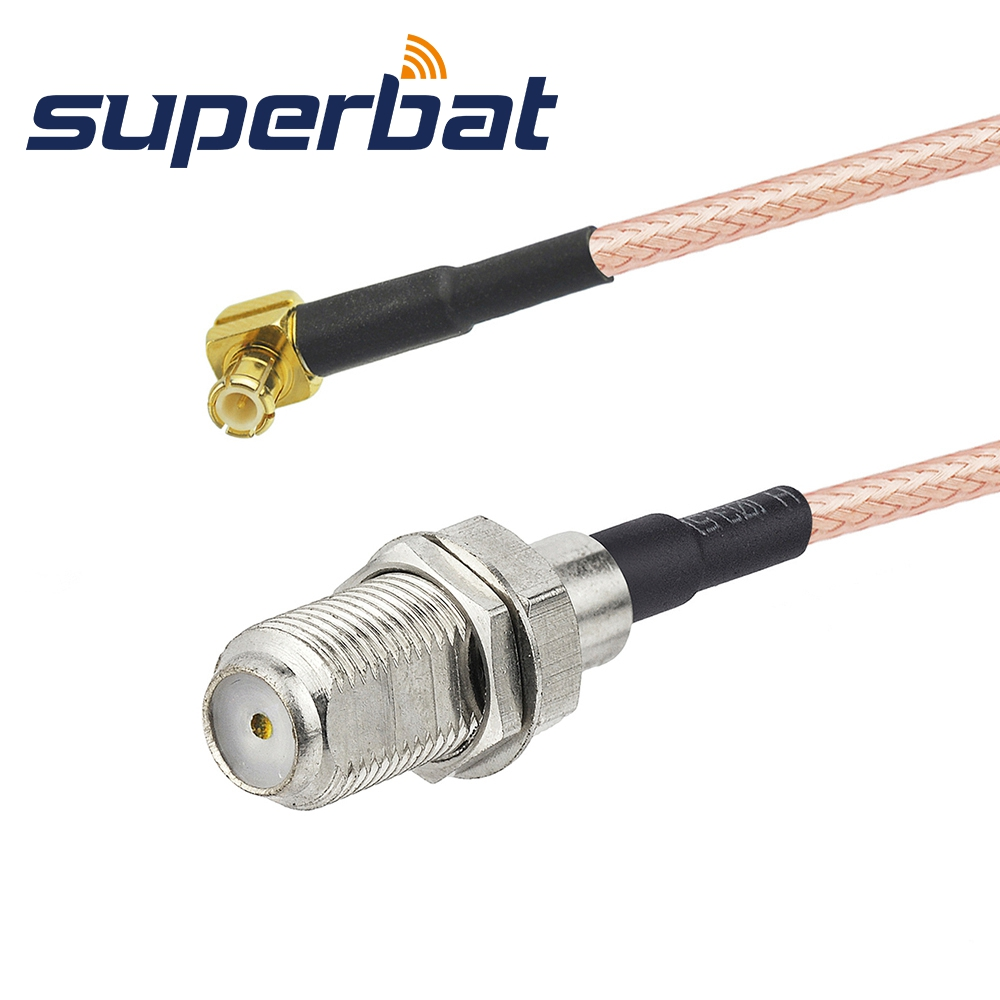 Supetbat UMTS Antenna Pigtail Cable F Female Jack To MCX Male Plug Right Angle For Broadband Router Ericsson W30 W35