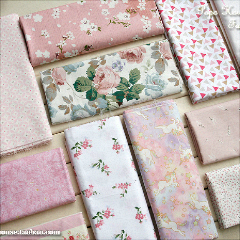 Free shipping 1pcs 160x50cm /10pcs 21x22cm pink Floral Unicorns poetry volume twill cotton fabric, DIY bedding cloth decoration