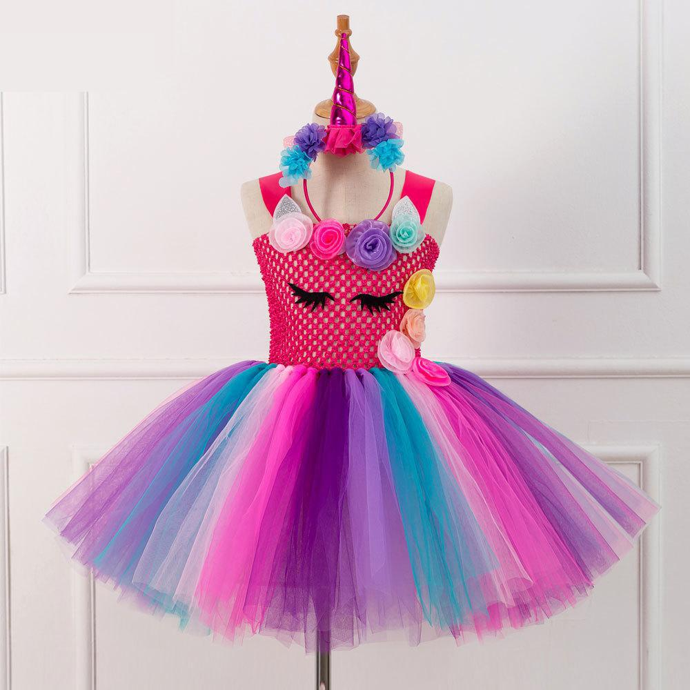 Unicorn Dress For Girls Princess Dresses Kids Flower Halloween Cosplay Costumes Party Photo Props Stage Dress Headwear 2-12T