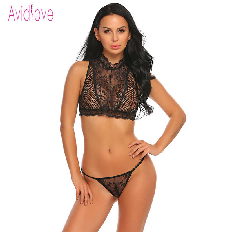 3fcf90684c4 Avidlove Sexy Lingerie Set Women Underwear Lace Mesh Bra and Panties Thong  Erotic Hot Sex Costume