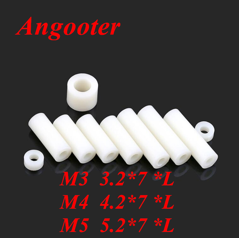 50pcs M3 M4 M5 Nylon ABS Non-Threaded Standoff Spacer Round Hollow Standoff Washer ID=3mm 4mm 5mm PCB Board Screw Spacers