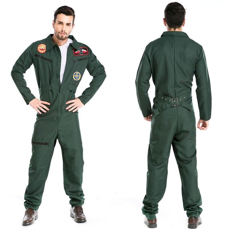Costumes d'halloween adulte hommes pilote aviateur pompier Costume uniforme fantaisie Cosplay Costumes vêtements pour hommes