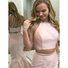 Halter Open Back Long Prom Dresses Two Pieces Mermaid Court Train Pink Satin Evening Dress with Beading Sash