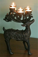 Deer Elk Candleholder with 6 Tealight Holder Candle Stand Cups Aluminum Alloy Metal Ornament Animal Home Table Decor Antique